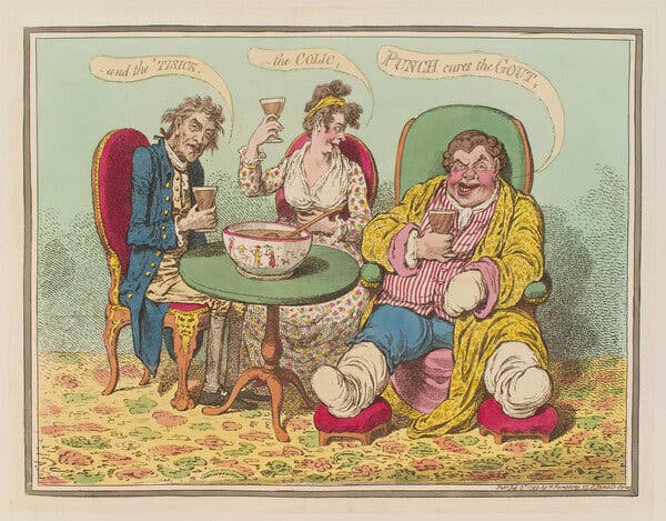 """James Gillray's etching """"Punch Cures the Gout, — the Colic, — and the 'Tisick,"""" published in 1799."""